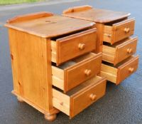 Pair Stripped Pine Bedside Chest of Drawers